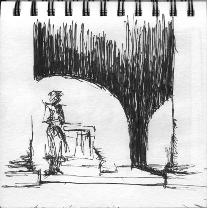 Shadows in Rome Sketch by Anne Annabelle Jones